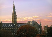 Healy Hall, the campus's most iconic building, houses classrooms and the university's executive body.