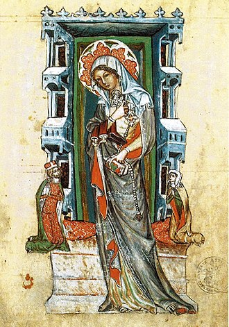 Hedwig of Silesia - Saint Hedwig of Silesia with Duke Louis I of Brzeg and Duchess Agnés, Hedwig Codex, Lubin, 1353 (now in the J. Paul Getty Museum, California)