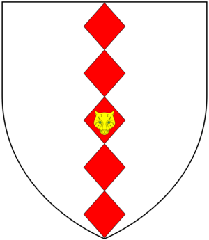 Sir Thomas Hele, 1st Baronet - Arms of Hele: Argent, five fusils in pale gules on the middle one a leopard's face or