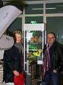 Helga Christensen, Vorsitzende Kulturforum der Sozialdemokratie in der Region Hannover e. V., und der Künstler Franz Betz im Werkatelier, Lister Künstler - Atelierrundgang 2012.jpg