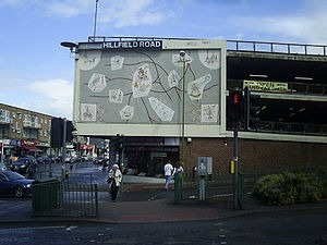 Rowland Emett - Whimsical map of Hemel Hempstead and its neighbours,  erected in 1960 on the side of what is claimed to be the first multi-storey car park in the UK