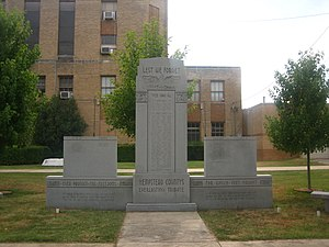 Hempstead County, Arkansas - Veterans Monument in front of current 1939 Hempstead County Courthouse in Hope