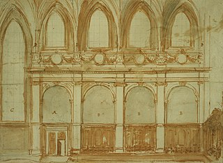 Drawing of the modernisation of a Gothic church interior