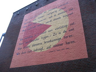 Hendrik de Vries - A poem by Hendrik de Vries on a wall in Leiden