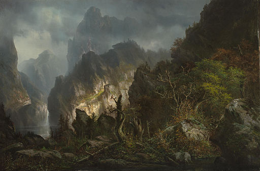 Hermann Herzog - Storm in the mountains