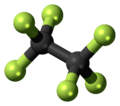 Ball-and-stick model of the hexafluoroethane molecule