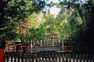 "Ōmiwa Shrine - Hibara Shrine, the most important sessha of Ōmiwa Shrine dedicated to young mitama (wakamitama) of Amaterasu, Izanagi and Izanami, considered the first origine of Ise Grand Shrine, called ""Moto-Ise""."