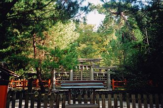 "Ōmiwa Shrine - Hibara Shrine, the most important sessha of Ōmiwa Shrine dedicated to young mitama (wakamitama) of Amaterasu, Izanagi and Izanami, considered the first origine of Ise Grand Shrine, called ""Moto-Ise""."