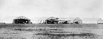 History of the Royal Canadian Air Force - DH4 aircraft at the Air Board air station at High River, Alberta, 1922. The aircraft were used for forestry patrols and photography.
