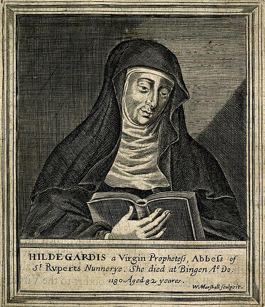 File:Hildegard von Bingen. Line engraving by W. Marshall. Wellcome V0002761.jpg