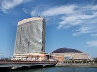 Hilton Fukuoka Seahawk and Yahoo Dome October 2011.jpg