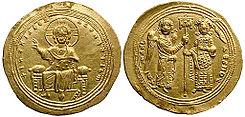 https://upload.wikimedia.org/wikipedia/commons/thumb/0/0c/Histamenon_nomisma-Micael_V-sb1776.jpg/245px-Histamenon_nomisma-Micael_V-sb1776.jpg