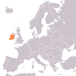 Map indicating locations of Holy See and Ireland