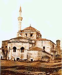 "Hagia Sophia in Thessaloniki, an example of the ""cross-domed"" type often cited as a precursor to the cross-in-square."