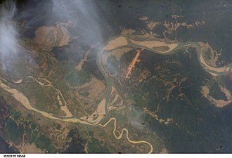 Chindwin River - The Chindwin at Homalin. The smaller, meandering Uyu River can be seen joining the Chindwin.