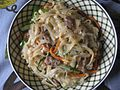 Homemade Japchae with mixed capsicum, mushroom, meat, carrot with rice noodles 02.jpg