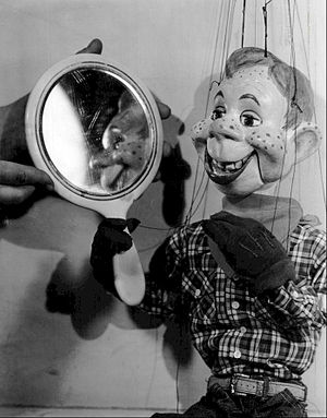 "Howdy Doody - Howdy Doody views the results of his ""plastic surgery."""