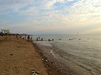 Hunstanton - Hunstanton Beach at dusk, August 2013