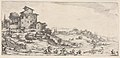 Hunters on horses and on foot, with hounds pursuing a stag, and two buildings in a hilly landscape, from the series 'Italian landscapes' (Diverse vedute designate in Fiorenza - Paysages italiens) MET DP833474.jpg