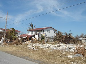 Effects of Hurricane Wilma in The Bahamas - Damaged homes in Freeport