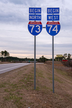 Interstate 73 - I-73/I-74 begin near Ellerbe, NC