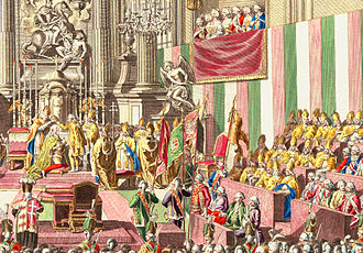 Flag of Hungary - Hungarian national colors on the wall, Hungarian coronation of Leopold II in Pozsony in 1790, 58 years before the Hungarian revolution