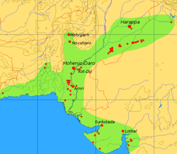 Extent and major sites of the Indus Valley Civilization. The shaded area does not include recent excavations such as Rupar, Balakot, Shortughai in Afghanistan, Manda in Jammu, etc. See [1] for a more detailed map.