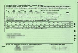 Vehicle insurance - International Motor Insurance Card (IVK)