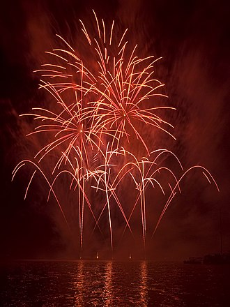 Strontium - Strontium salts are added to fireworks in order to create red colors