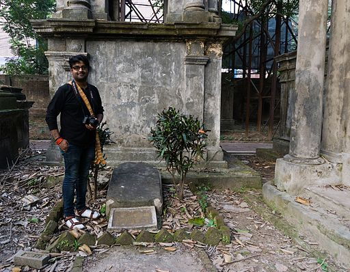 Indrajit Das in front of grave of Dickens' son