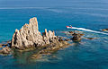 Inflatable boat, rocks, Cabo de Gata, Andalusia, Spain.jpg