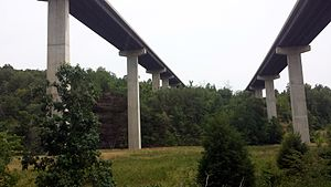 Interstate 49 in Arkansas - Two bridges carry I-49 over a valley in the Boston Mountains