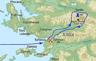 Ionian Revolt - Ionian Revolt: Sardis campaign (498 BC)