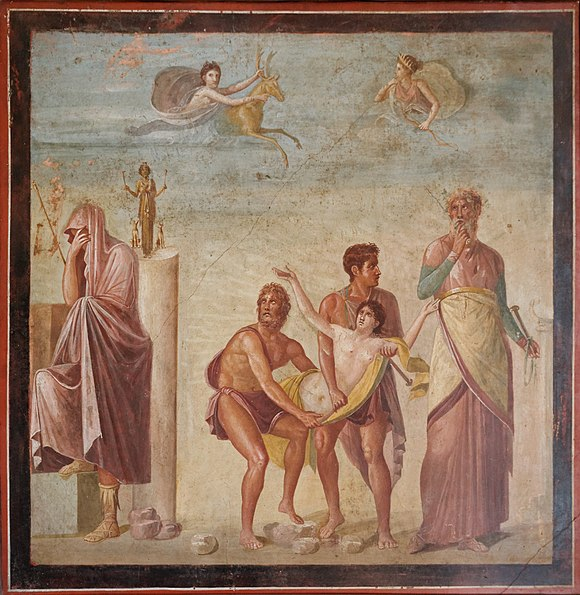 First-century AD Roman fresco from Pompeii, showing the mythical human sacrifice of Iphigenia, daughter of Agamemnon. Epicurus's devoted follower, the Roman poet Lucretius, cited this myth as an example of the evils of popular religion, in contrast to the more wholesome theology advocated by Epicurus. Iphigeneia sacrificed MAN Napoli Inv9112.jpg