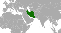 Map indicating locations of Iran and Qatar
