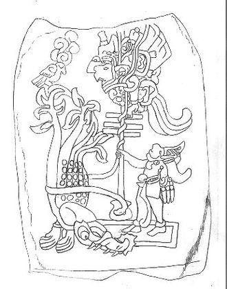 Maya Hero Twins - The Hero Twins shooting a perched bird demon with a blowgun. Izapa Stela 25.
