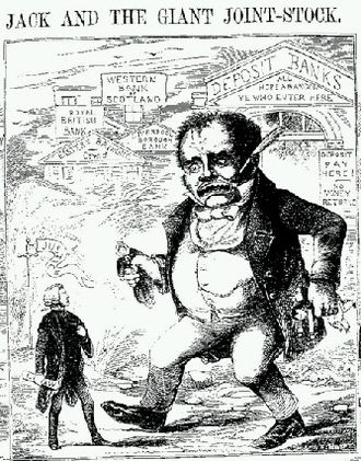 "Corporate law - ""Jack and the Giant Joint-Stock"", a cartoon in Town Talk (1858) satirizing the 'monster' joint-stock economy that came into being after the Joint Stock Companies Act 1844."