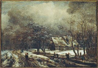 A winter landscape with peasants on a road and skaters on a frozen river, a cottage nearby