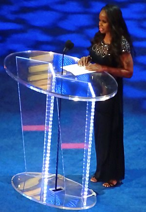 Jacqueline Moore - Moore during her speech of induction at the WWE Hall of Fame in April 2016