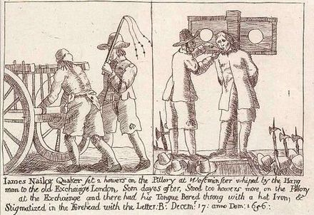 James Nayler, a prominent Quaker leader, being pilloried and whipped JamesNayler-2.jpg