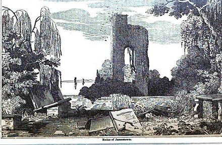 1854 image of the ruins of Jamestown Church, the first Anglican church in North America Jamestown Virginia ruin.JPG
