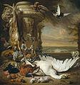 Jan Weenix - Een aap en een hond bij dood wild.jpg