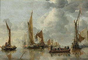 "Jan van de Cappelle - The Home Fleet Saluting the State Barge, 1650, a ""parade"" picture. 64 × 92.5 cm (25.20 × 36.42 in)"