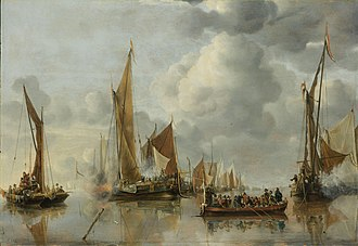 """Jan van de Cappelle - The Home Fleet Saluting the State Barge, 1650, a """"parade"""" picture. 64 × 92.5 cm (25.20 × 36.42 in)"""