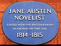 Jane Austen novelist stayed with her brother Henry in a house on this site 1814-1815.jpg
