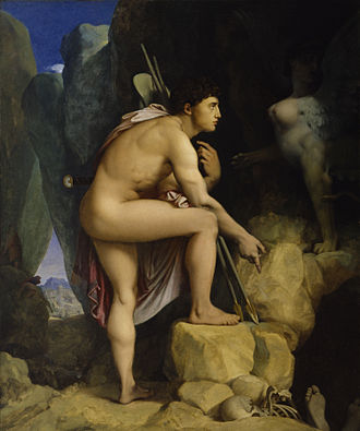 Oedipus Rex - Painting by Jean-Auguste-Dominique Ingres depicting Oedipus after he solves the riddle of the Sphinx. The Walters Art Museum.