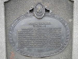 Joaquín González (politician) - Dr. Joaquin Gonzalez (1982 NHI historical marker, Baliuag, Bulacan).