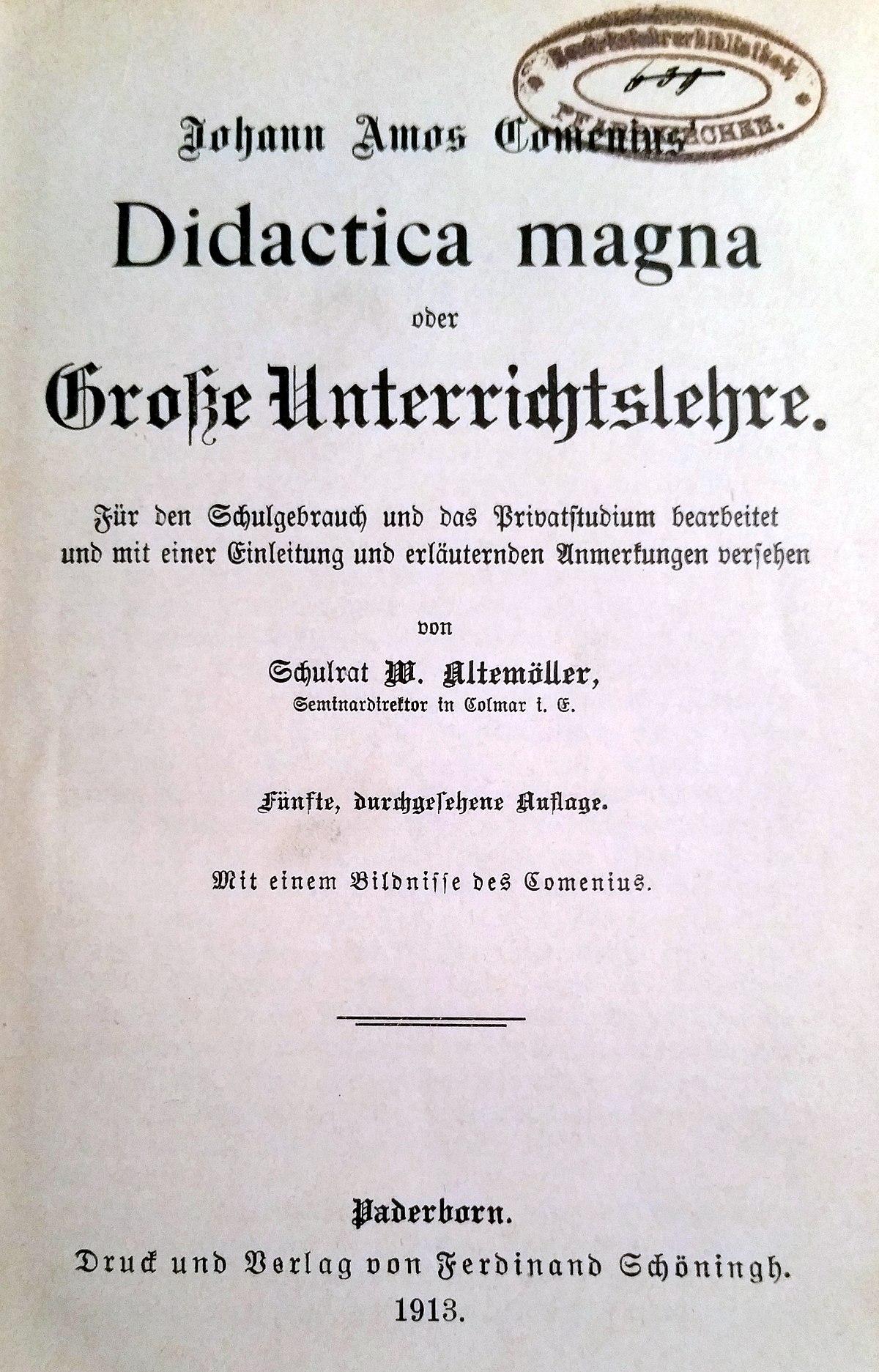 Johann Amos Comenius Didactica Magna Didactic