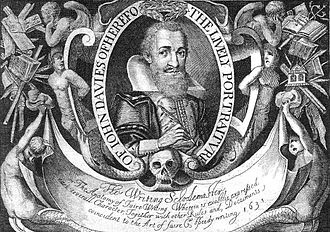 John Davies of Hereford - Portrait from title page of The Writing Schoolemaster 2nd ed. (1636)