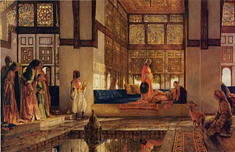 An illustration of the women's quarters in a seraglio, by John Frederick Lewis John frederick lewis-reception1873.jpg